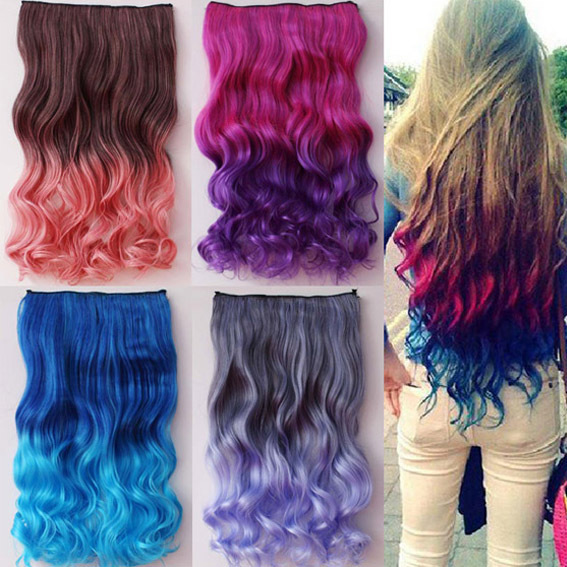18 Curly Wavy Two Tone Ombre Dip Dye Salon Party Festival Clip In