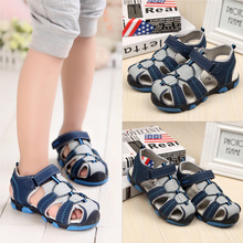 2017 Summer New Style Closed Toe Mixed Color Kid Beach Sandals Boys Patchwork Soft PU Leather Children Sandal