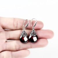 Restore Ancient Ways Round Ruby Earrings Female Garnet Eardrop Temperament Of Han Edition Earrings Silver Ornaments