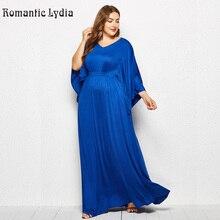 נשים בתוספת גודל סתיו שמלת וינטג Loose רצפת אורך מקסי שמלות גדול גדלים מוצק V צוואר ארוך שרוול כחול שמלה 3XL 4XL
