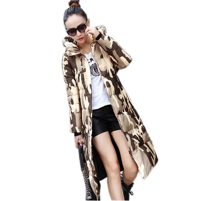 winter long down cotton coat women's thick warm camouflage slim parkas female high quality hooded padded outerwear coat kl0508