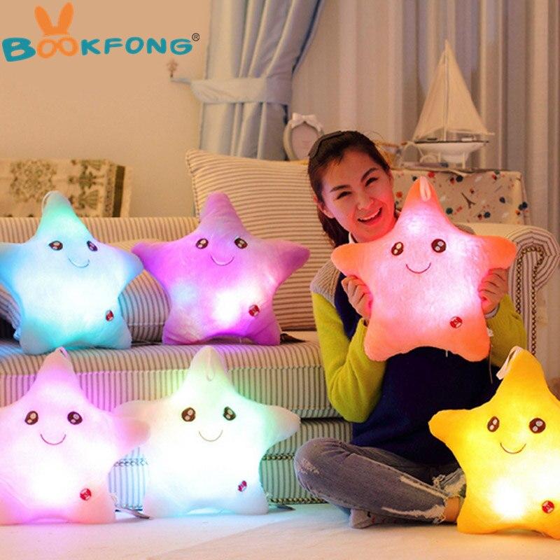 BOOKFONG colorido forma de estrella juguetes estrella brillante LED luminoso luz almohada suave Relax regalo sonrisa cuerpo almohada San Valentín regalo