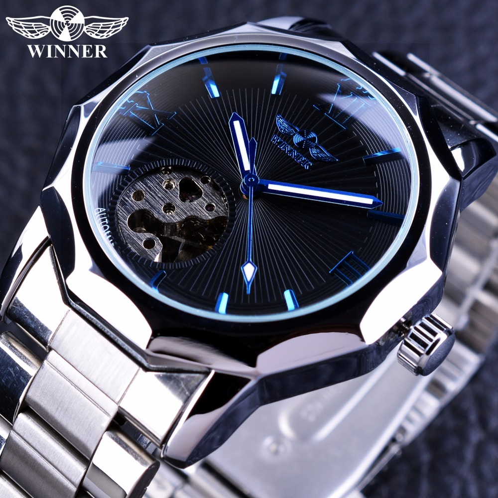 Vinnare Blue Ocean Geometry Design Stainless Steel Luxury Smycken Skelett Mens Klockor Top Brand Luxury Automatisk Armbandsur