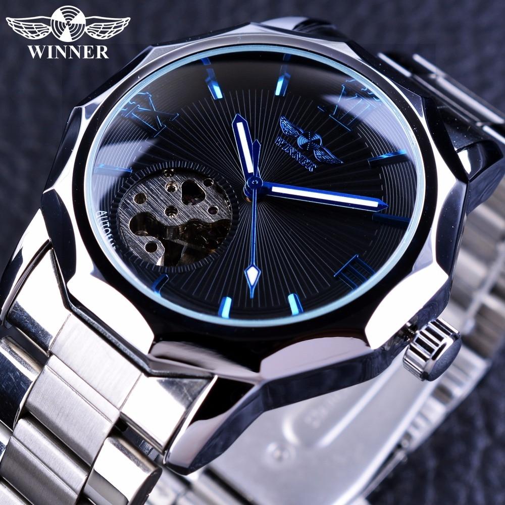 Winner Blue Ocean Geometry Design Stainless Steel Luxury Small Dial Skeleton Mens Watches Top Brand Luxury Automatic Wrist Watch