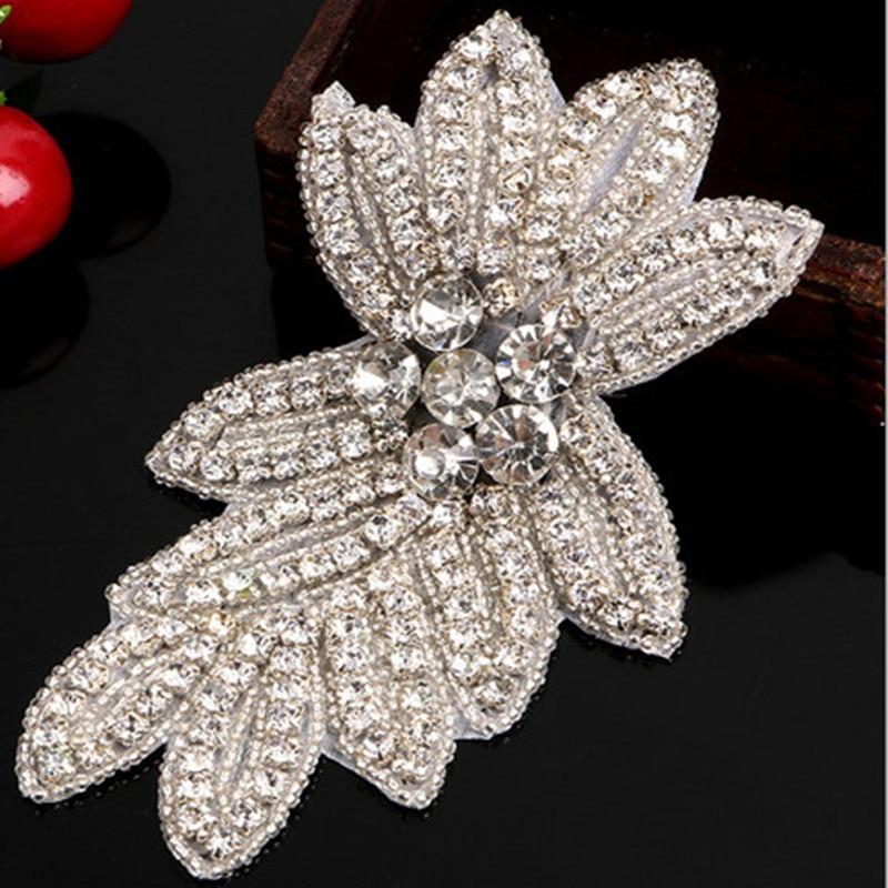 15 * 8,5 cm cvijet bijeli perla Rhinestones Applique za vjenčanicu Kape šivanje Pribor Čipka Trim visoke kvalitete
