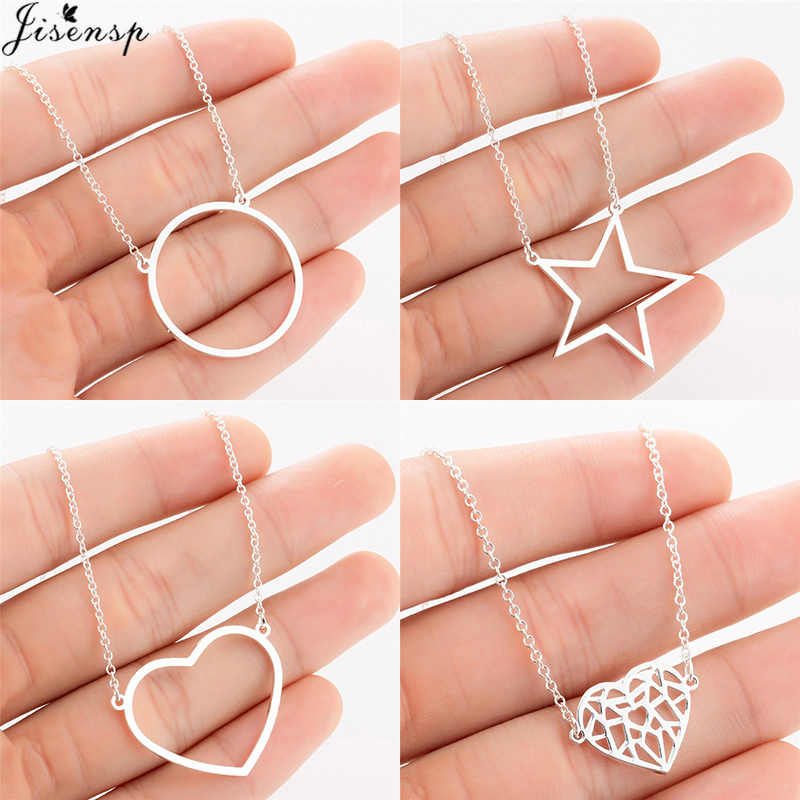 Jisensp New Boho Geometric Round Star Heart Pendant Necklace for Women Gold Long Chain Necklaces Simple Jewelry Kolye Bijoux
