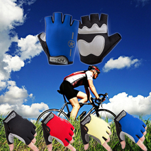 цена на 1 Pair Half Finger Gloves Cycling Summer Bike Men Women Sports Shockproof Gel Bicycle Fitness