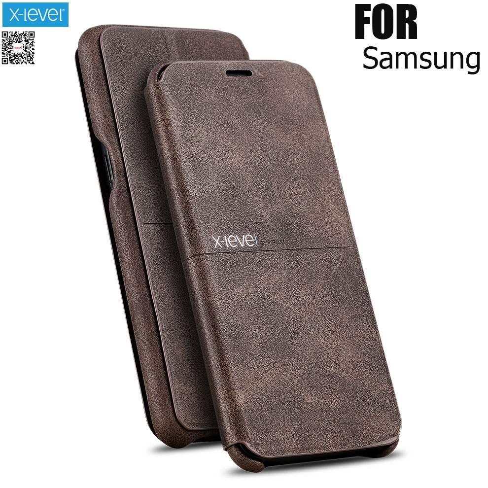 X-Level Extreme Flip Leather Case Pour samsung s9 S10Plus case S7 edge S8 Retro Vintage Classic Bookcase Cover For note 9 Note 8