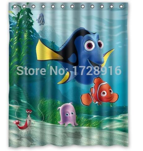 Customized Marlin Dory Finding Nemo Shower Curtain Waterproof Bathroom Fabric 180x180cm For