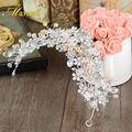 Wholesale Bridal Crown Tocados Para Novias Silver Headpieces Crystal Hair Accessories for Women Wedding Hair Ornaments HG131