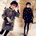 Pregnant women  winter coat in  fashion set furry long loose women sweater large size