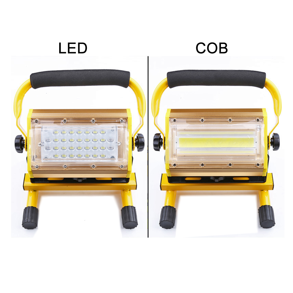 LED outdoor lighting floodlight IP67 waterproof 100W COB LED portable spotlight rechargeable 18650 searchlight lamp