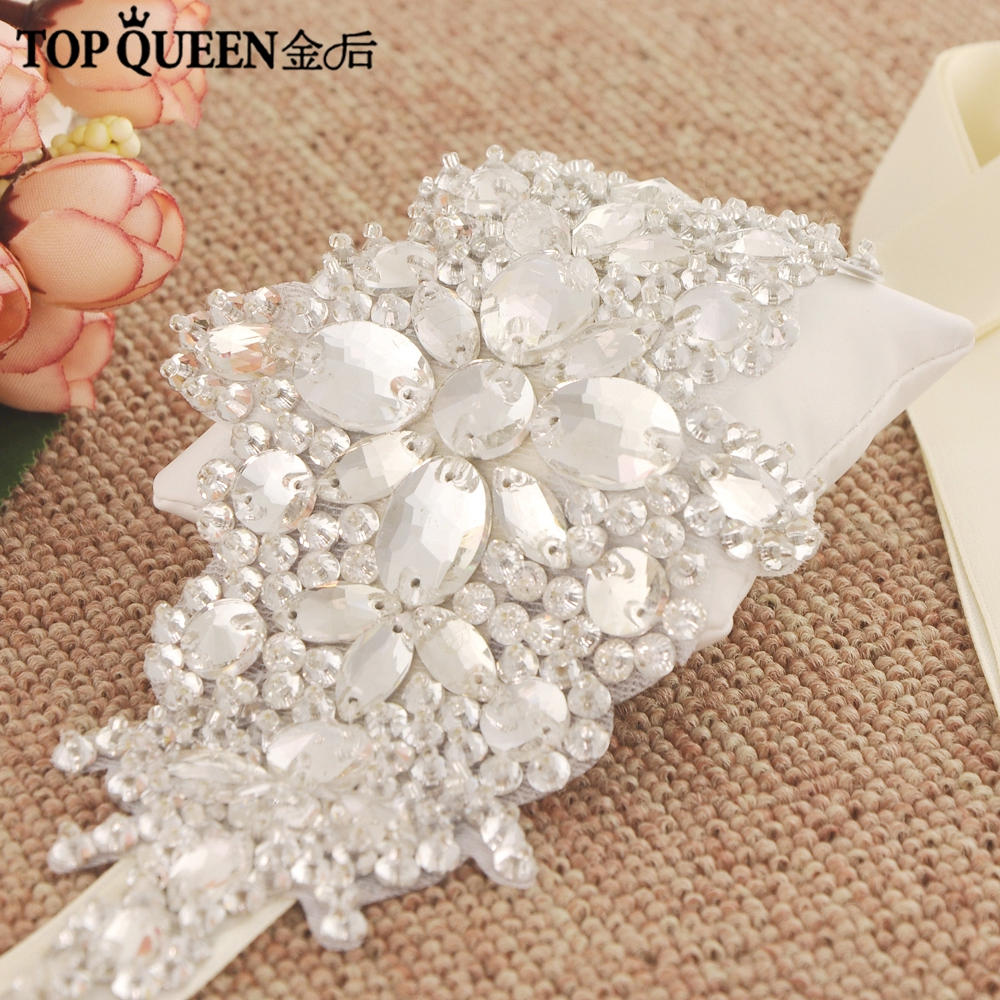 TOPQUEEN H121 In Stock Gorgeous Ribbon Wired Diamond And Rhinestone Beaded Wedding Headband Headpiece Hair Ornaments For Women
