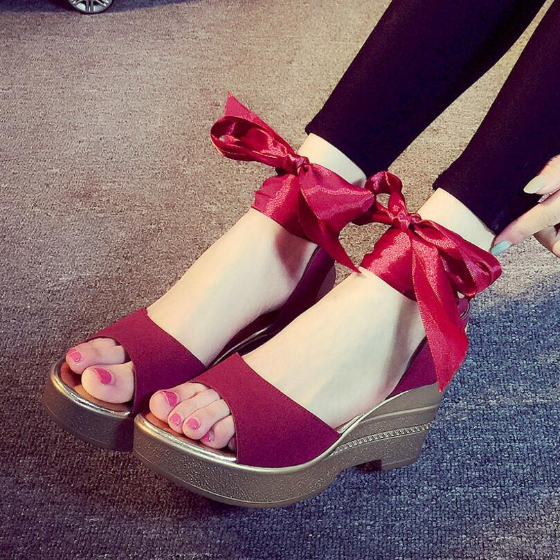 5cc12fbc51ffd ... Pumps sandalias de la plataforma. Alibanggood Hot Sale Lace Up Heels  Big Size Shoes Women Sandals Summer Shoes High Heel Open ...