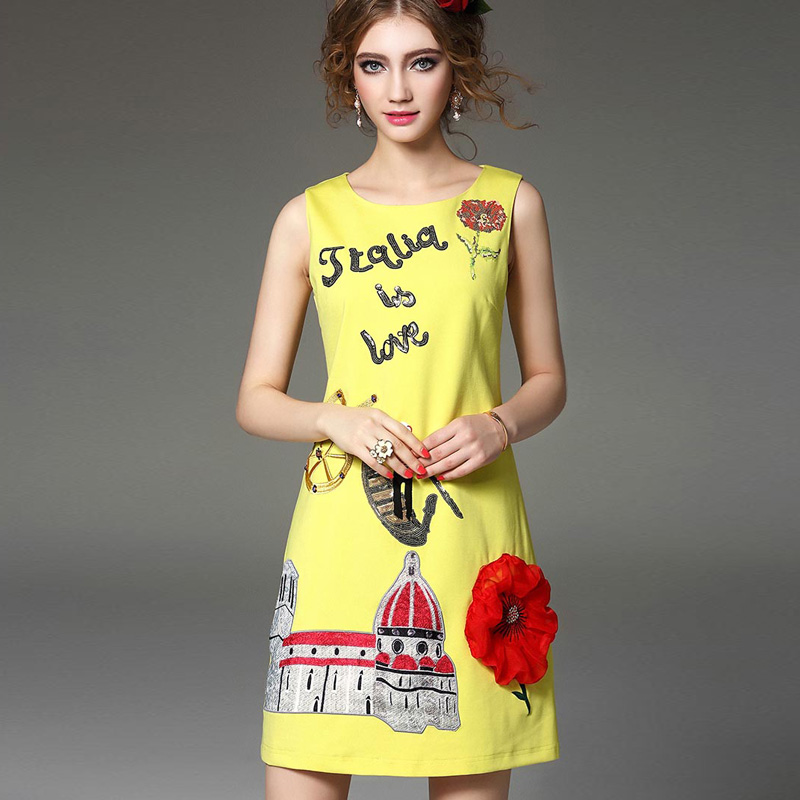 2016 kadınlar Pamuk Elbise Nakış Karikatür Gündelik Elbise - Bayan Giyimi - Fotoğraf 2