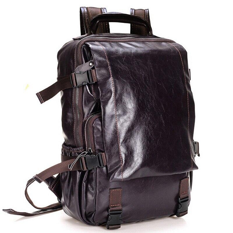 2017 Fashion Men Backpack Genuine Leather Bag Men Travel Backpack Laptop Famous Brands High Quality Male Big Capacity Backpack etn bag good quality hot sale best seller men pu leather backpack male fashion travel backpack man casual travel bag laptop bag