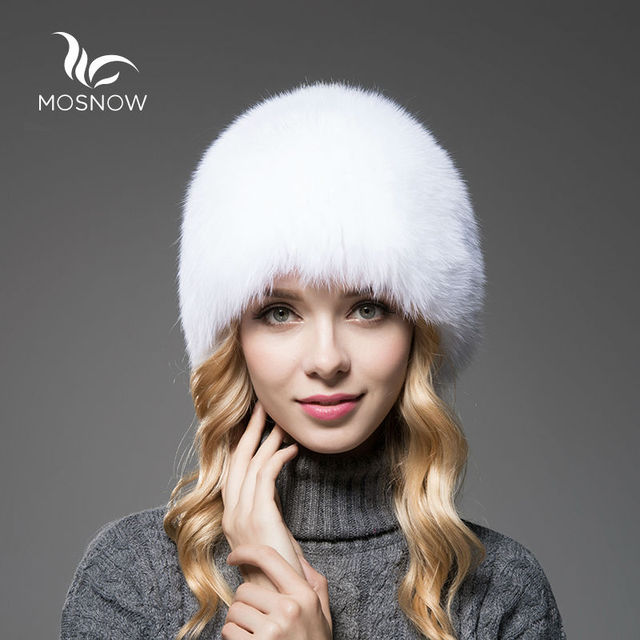 MOSNOW Brand New Luxury Fox Fur Hat Female Winter Women'S Casual Knitted Warm Elegant Solid Beanies And Caps Female