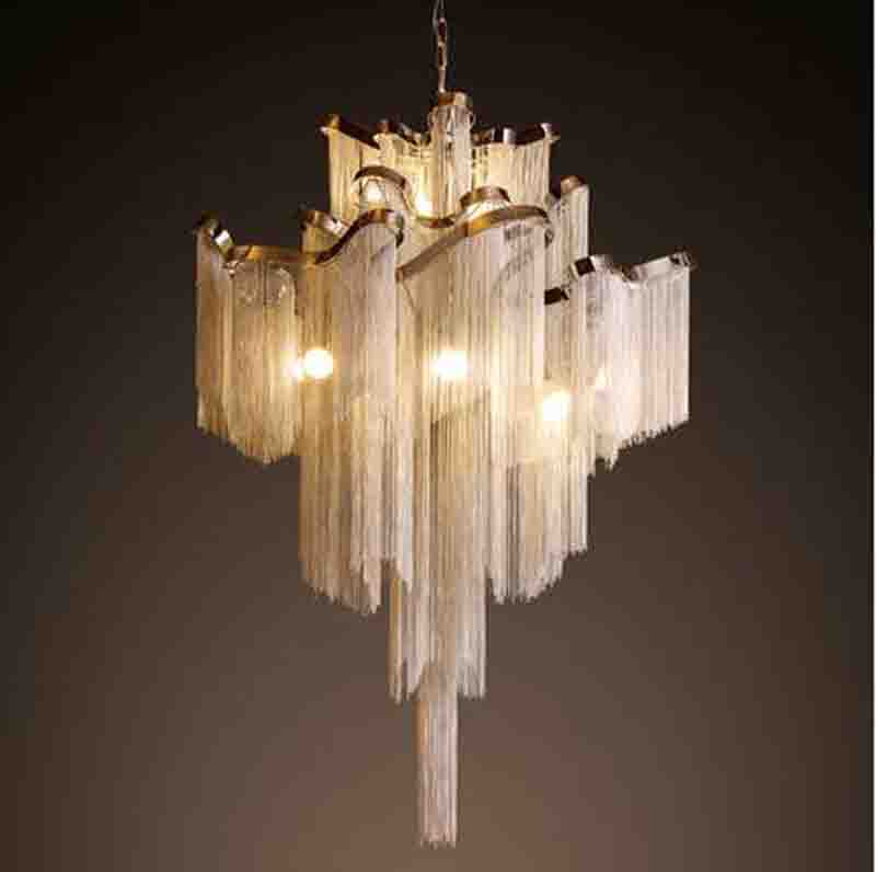 French Aluminum Chain tassel Chandelier Light Fixture Empire Vintage Hanging Suspension Lustre Chain Pendant Lamp Drop Light