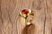 hot deal buy hot sales 17.5mm stainless steel ruby ring gold men rings for men gold rings