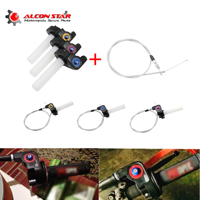 Alconstar- Motorcycle visual Throttle Grips Settle & twist gas throttle handle with Cable Dirt Pit Bikes ATV 50cc-160cc GPX SDG