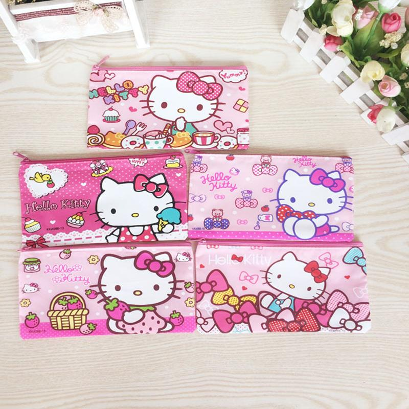 Cute school pencil case for girls kawaii hello kitty stationery pouch zipper pencil bag for kid office school supplies canetas