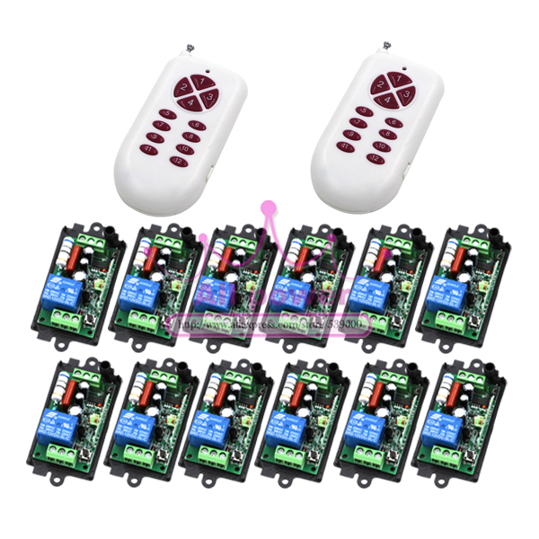 RF inalámbrico control remoto interruptor de luz 220 v sistema de interruptor de alimentación 12 2 receptor y transmisor 12CH 10A lámpara de luz LED SMD encendido apagado