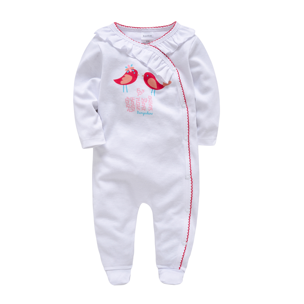 Kavkas 2018 Winter Autumn New Born Baby Girl Toddler Costume Red Birds   Romper   Baby Girl Clothes Jumpsuit