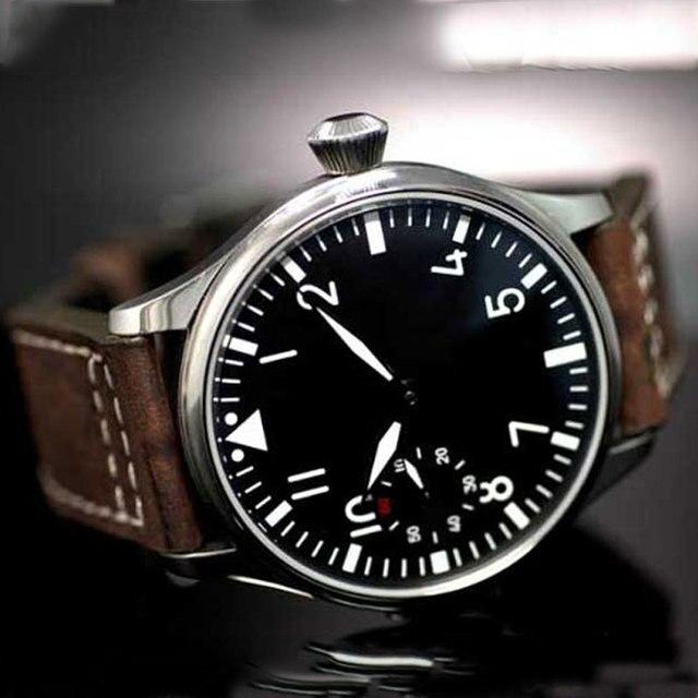Бесплатная доставка 44 мм классический черный циферблат parnis световой макрс Азии 6497 Деловые часы ручной обмотки Мужские часы pa01