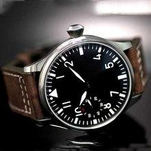 Freies Verschiffen 44mm klassische schwarz zifferblatt parnis leucht makrs asien 6497 bewegung Mechanische Uhren handaufzug herrenuhr PA01