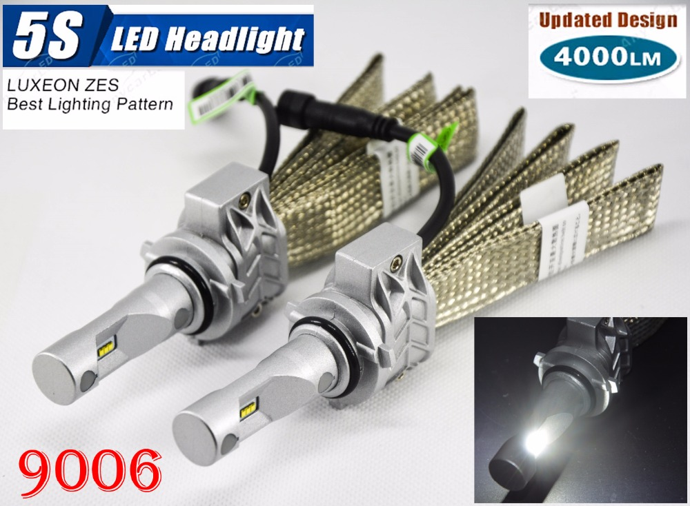 1 Set 9006 HB4 50W 4000LM 5S LED Headlight Kit LUMILED LUXEON ZES 12LED SMD Chip Fanless 6500K Driving Fog Lamp Bulb HID Halogen 1 set 9012 hir2 50w 4000lm 5s led headlight kit lumiled luxeon zes 12led smd chip fanless 6500k driving fog lamp bulb hid haloge