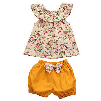 Fashion Summer Newborn Baby Girl Clothes O-neck Frill Sleeveless Floral Top +bow-knot Shorts 2PCS Outfits Toddler Kid Cloths Set
