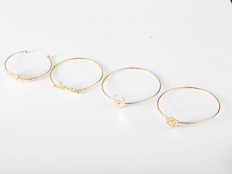 2018 New multi-layer bracelet four-piece gold snow deer head leaf bracelet set for famele free shipping 4