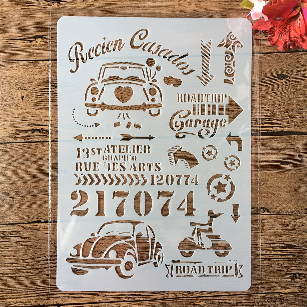 A4 Road Trip Car License Plate DIY Craft Layering Stencils Painting Scrapbooking Stamping Embossing Album Paper Card Template