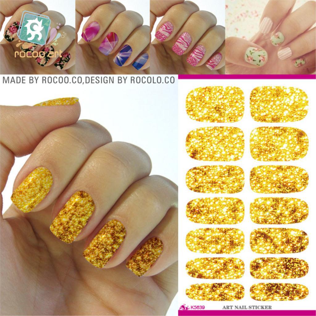 ̀ •́ 2pcs/lots Promotion New Nails Water Transfer Sticker Gold ...
