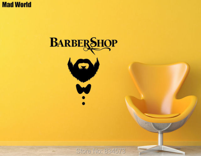 Mad World Barber Shop Hairdressing Mustache Scissors Wall Art ...