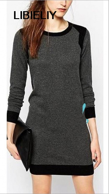 Nice Fashion Women Knitted Dress Elegant Ladies Casual O Neck Plus Size Winter Dresses Wool Knit Women Sweater Dress Pullover