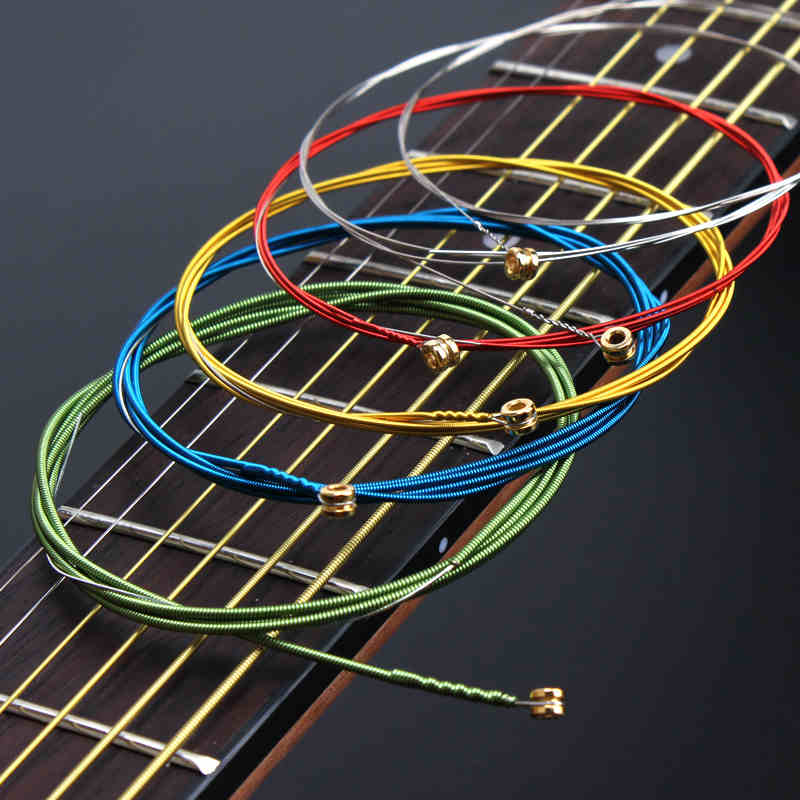 Color Acoustic Guitar Strings set Colorful Multi  ainbow Wound Acoustic Guitar Strings  A407 Steel  6strings/set classical guitar strings set cgn10 classic nylon silver plated normal tension 028 045 classical guitar strings 6strings set