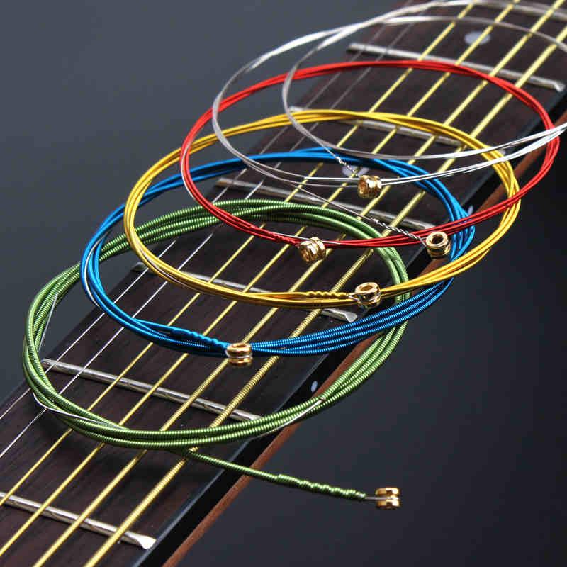 Color Acoustic Guitar Strings set Colorful Multi  ainbow Wound Acoustic Guitar Strings  A407 Steel  6strings/set