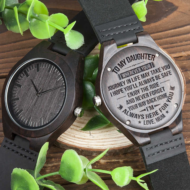 Bobobird Idea Gift Personalized Wood Wrisch For Daughter Customized Ebony Leather Watch From Mom And Dad
