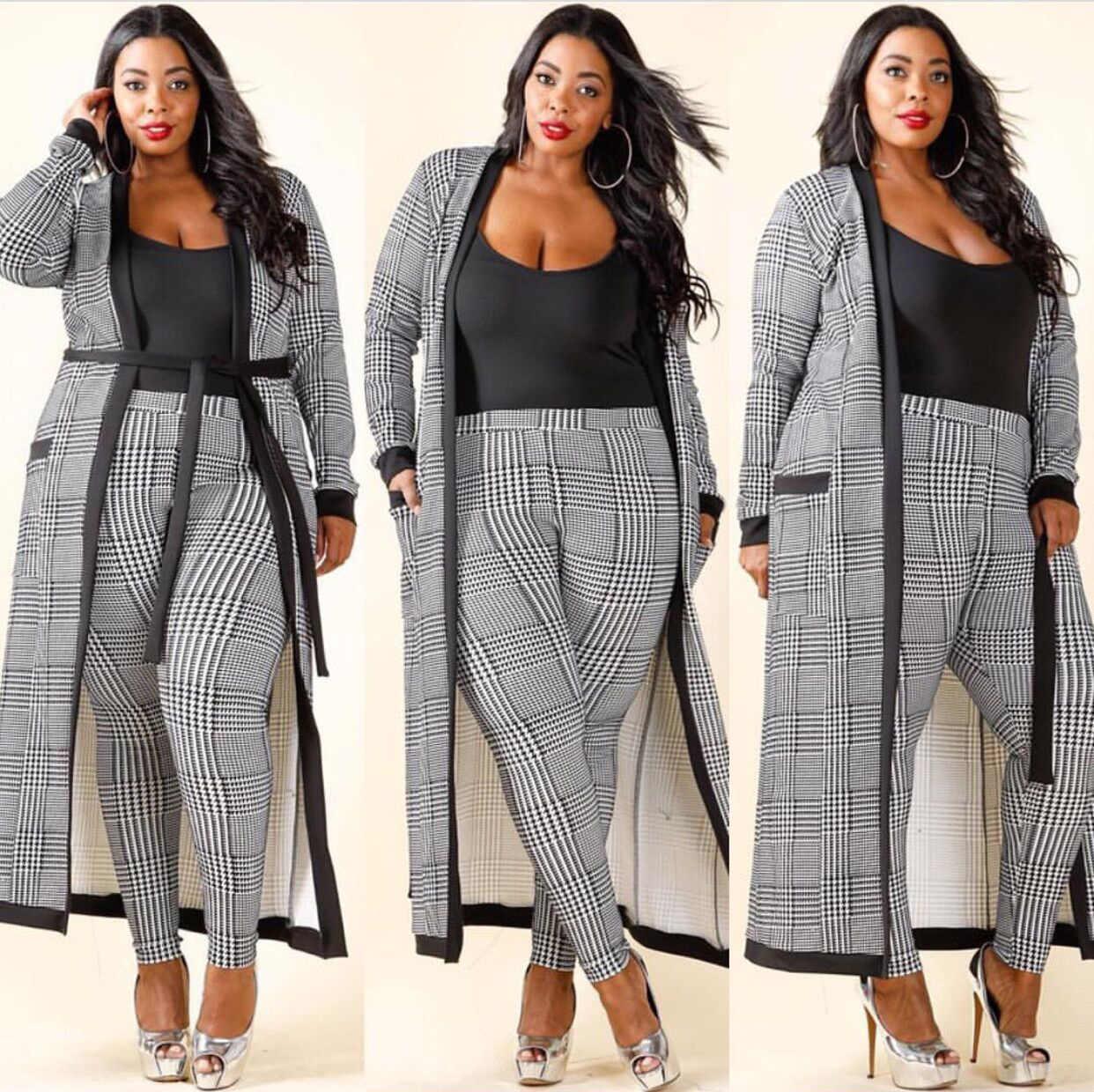 Mulheres Mujer Vestido Vestuário Tradicional Africano Africano 3 Peças Set Top E Calças Xadrez Cardigan Casaco Calças Colete 2019