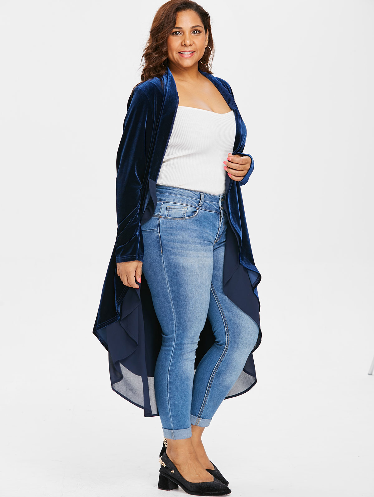 Wipalo Plus Size 5XL Open Front High Low Asymmetrical Longline Velvet Coat  Casual Solid Patchwork Flounce Jacket Coat Autumn Top-in Basic Jackets from  ... e9bb5a19e
