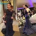 2016 exquisito sirena negro madre De la novia vestidos Vestido De Renda apliques De manga larga sin respaldo vestidos De noche listones