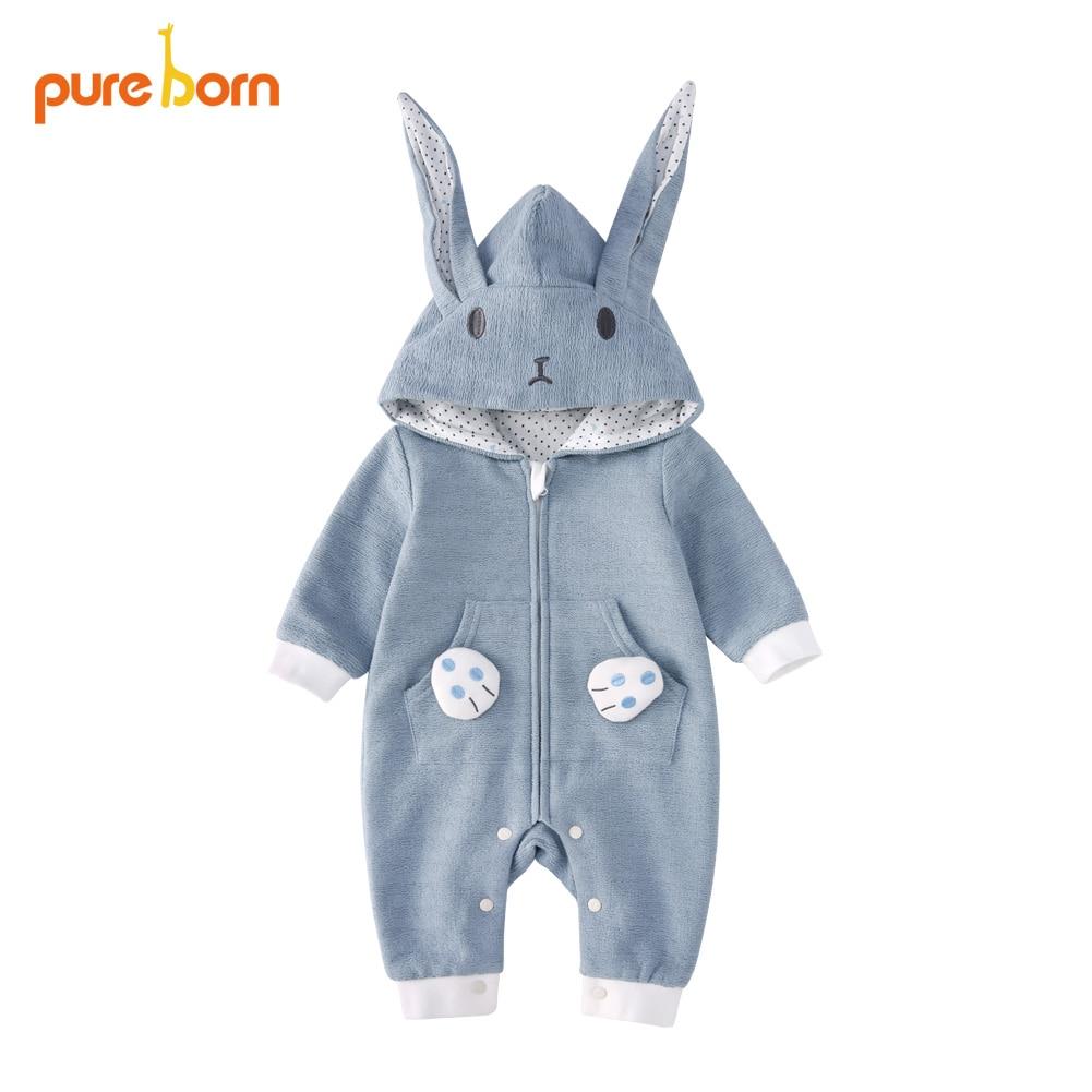 Pureborn Baby Romper Rabbit Bunny Baby Onesie Cotton Newborn Hooded Rabbit Ears Overall Baby Girl Boys