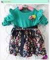 [Bosudhsou] розничная хлопок летом девочка платье с длинным рукавом цветочные детская одежда цветочные повседневные платья. H2