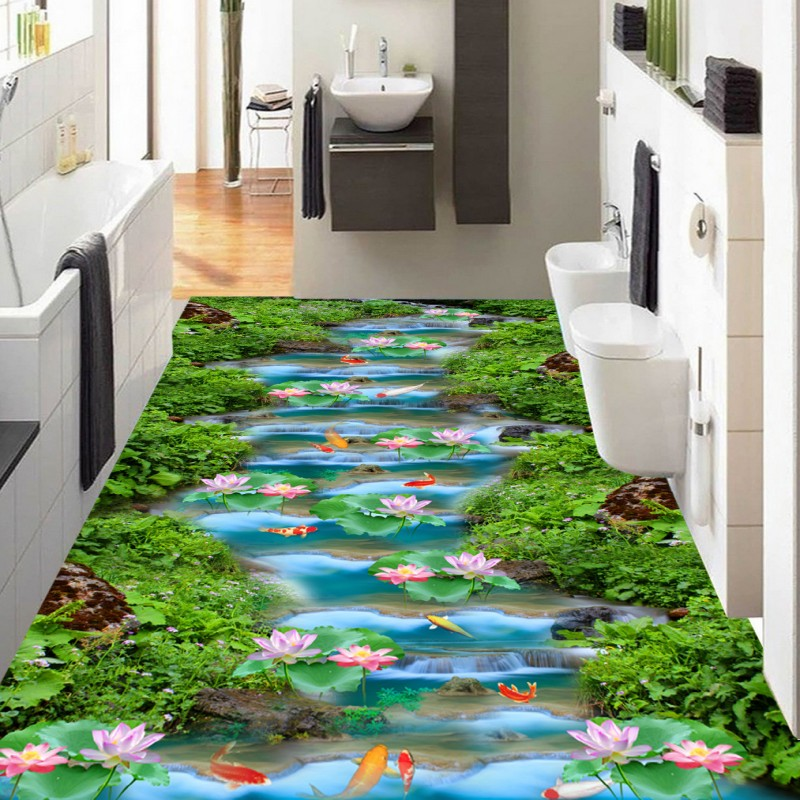 цены Free Shipping Custom Stone Creek Waterfall Lotus carp Bathroom 3D stereo flooring mural shopping mall Floor wallpaper