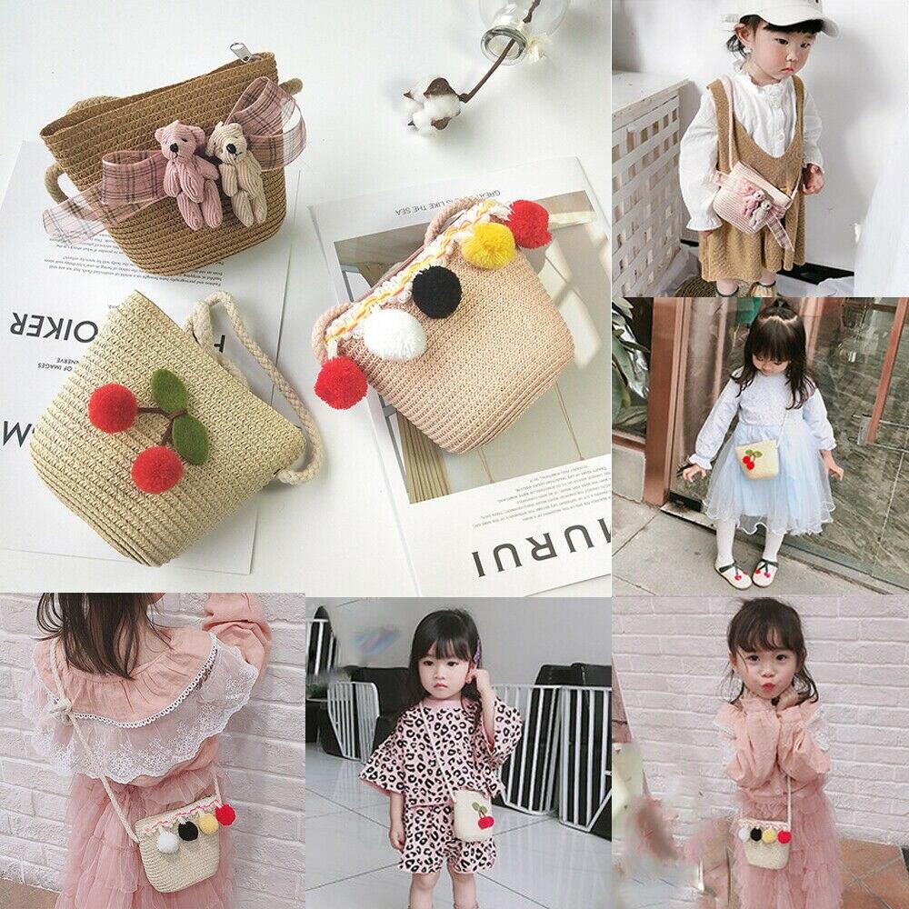 Boys Girls Straw Rattan Messenger Bags Fruit Kids Purse Cute Bear Cartoon Bags