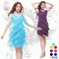 S 3XL Latin Dance Dresses Suits Women Girls Sexy Fringes Long Skirt Ballroom Tango Rumba Latin