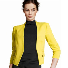 M Korean version of the small suit Puff Sleeve cotton womens slim without buckle candy color coat
