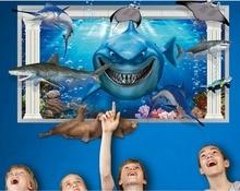 Finding Nemo Under Sea Shark Fish 3D Cartoon Waterproof Vinyl Wall Decals Stickers/Bathroom Film For Child rooms Kids Gift