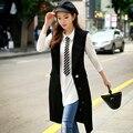 Original 2016 Brand Outerwear Autumn Plus Size Turn Down Collar Fashion Handsome Black Long Vest Trench Coat for Women Wholesale